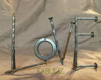 Welded Scrap Metal Love sign