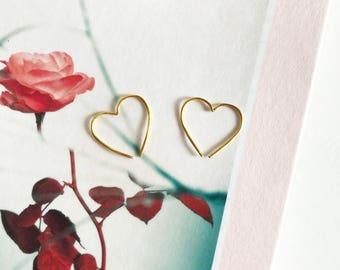 HEART wire earrings | love heart earrings | minimalist earrings | heart hoop earrings | valentine's earrings | simple wire earrings