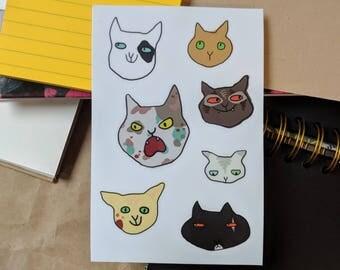 Cat Faces Sticker Sheet // Vinyl Stickers // Cute Cats & Kittens // Planner, Phone, Laptop Stickers
