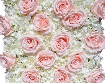 Blush White Flower Wall Pink Roses Hydrangeas Artificial Flower Wall Wedding Decorations Fake Flower Greenery Flower Square Pink Wholesale