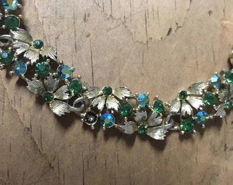 Vintage Lisner Necklace Blue/Green Aurora Borealis Rhinestones