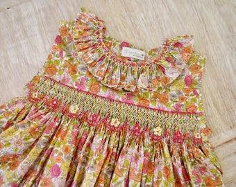 Smocked Liberty Baby Girls Dress - Liberty London Phyllis