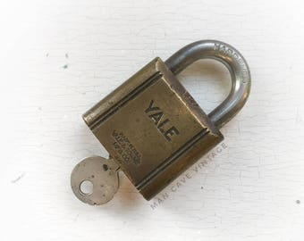 Large Antique YALE Padlock and Key Brass Old Vintage Lock