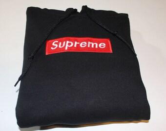 Supreme Embroidered hoodie - White/Black embroidered supreme hoodie
