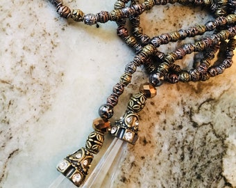Mixed Metal Beaded Lariat with Jewled Crystal Tassels
