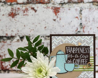 """Happiness is a Cup of Coffee Hand Stamped, Multi Layered Card, Small Size (3x3"""")"""