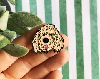 cream doodle dog soft enamel lapel pin