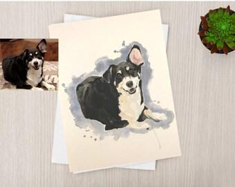 Dog Portrait Original Watercolor