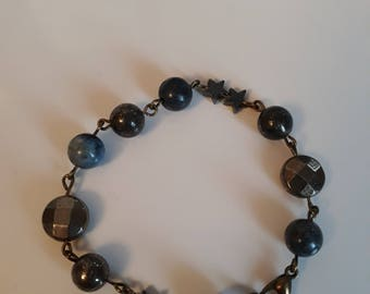Blue and gold pyrite bracelet