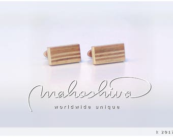 wooden cuff links wood cherry maple handmade unique exclusive limited jewelry - mahoshiva k 2017-11