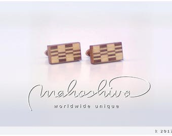 wooden cuff links wood walnut maple handmade unique exclusive limited jewelry - mahoshiva k 2017-54