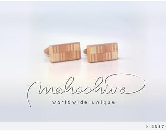 wooden cuff links wood flamed maple maple handmade unique exclusive limited jewelry - mahoshiva k 2017-105