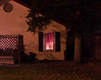 Pink Light From Inside A House