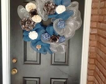 Silver & Blue Door Wreath