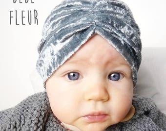 Turban velours bébé, bonnet bébé, bonnet de naissance, cadeau de naissance, bleu ciel
