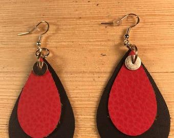 Double tear earrings, leather earrings, Dark navy blue and melon earrings