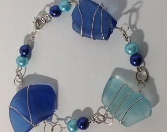 Blue Beach Glass Bracelet