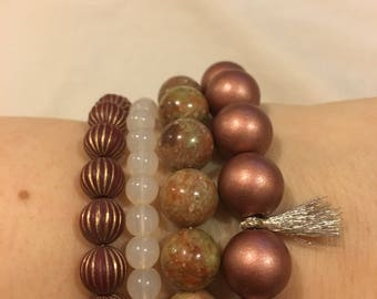 4 Stackable Beaded Bracelets: Cream, Sepia, Bronze and Natural Marble