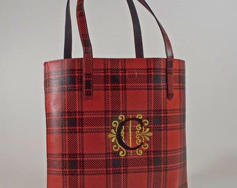 Tote Bag, Embroidered Monogram, Red Black Plaid Faux Leather Personalized Purse Black Fabric Lining Interior Pockets, Gift