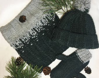 Knit handmade wool/alpaca hat + mittens + snood scarf in green & gray, Gift for her