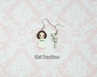 LEILA (STAR WARS) Fimo doll earrings, Polymer clay doll, handmade
