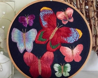 Butterfly embroidery, embroidered art, home decor