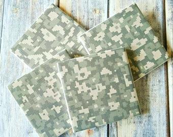 Camo Coasters - Military Gifts - Military Coasters - Army Wife Gift - Ceramic Tile Coasters - Camo Home Decor - Veteran Gift - Table Coaster