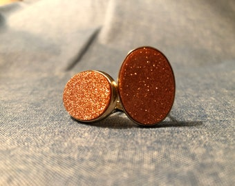 Groovy Vintage Goldstone Men's Oval Cuff Links