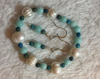 Aquamarine, african turquoise and fresh water pearls bracelet with aquamarine and african turquoise earrings set