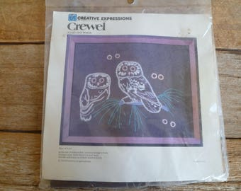 "Vintage  Crewel Embroidery Kit   Unopened   ""Owl Watch""  Creative Expressions"