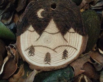 Personalised Pyrographed Mountain Scene Keyring or Ornament