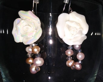 Roses and pearl earrings