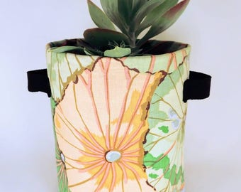 Fabric Plant Pot - Kaffe Fassett Jade Lotus Leaf Print | Textile Geofabric Planter | Beautiful Gift for Gardeners | Large Size