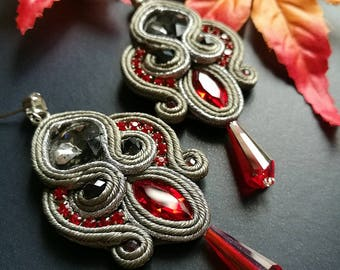 Handmade Elegant Red and Gray Crystal Soutache Earrings Statement Wedding Earrings Ethnic Boho Chic Drop Earrings