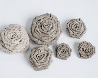 Grey fabric flowers, flowers appliques, handmade appliques, decoration sewed flower, craft supplies, embellishments, DIY wedding decorations