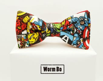 Superhero Bow tie, Superheroes bowtie, Heroes, Iron man, Captain America, comic