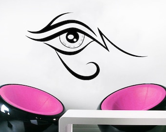 Wall Decal Window Sticker Beauty Salon Woman Face Eyelashes Lashes Eyebrows Brows t45