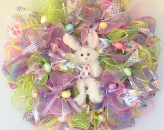 Easter Bunny Poly Deco Mesh Wreath, Bunny Wreath, Easter Egg Wreath, Easter Decor, Spring Wreath