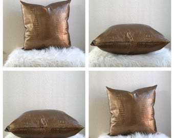 20x20 Gold Faux Leather Pillow Cover