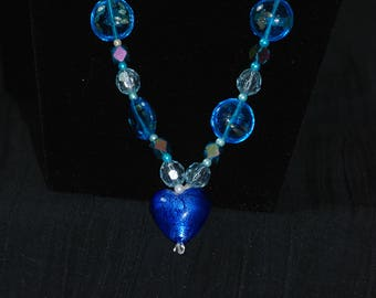 Blue Heart Necklace and Bracelet