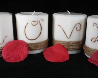 4 Piece LOVE Pillar Candle Set - Custom Pillar Candles