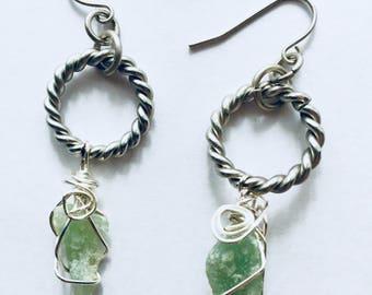 Aventurine Quartz Wire Wrapped Gemstone Earrings