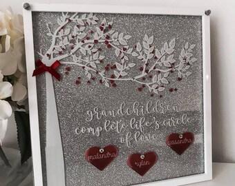 Personalised Grandchildren Love Glitter Plaque
