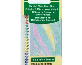 Marbled Glass Head Pins