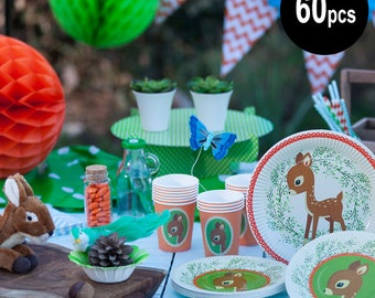 60 pcs Woodland Animals partyware, Bambi party supplies, fawn party plates, woodland party set