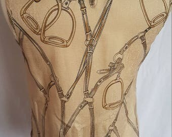 RENE PONTIER Horse Stirrup Silk Top UK 8 10 Yellow Gold Vintage Designer