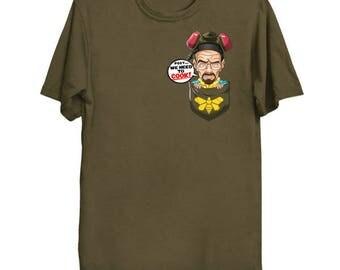 Pocket Heisenberg Shirt Walter White Tee Breaking Bad We Need To Cook Blue Meth