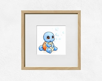 Squirtle Art Print - Original Starter Pokemon - Watercolour Painting