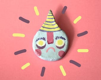 Partypooper | clay pin, cute handmade decorative acrylic pastel painted sad celebration party lapel pin - badge - brooch