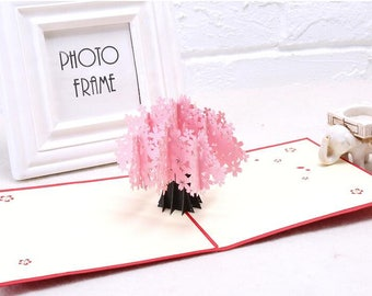 Sakura Cherry tree 3D Pop Up Card Valentines Day Cards,Mother's day card,Wedding card